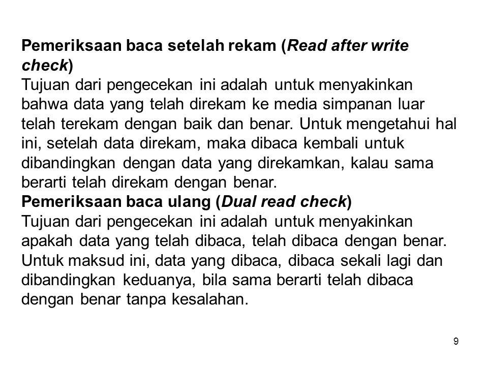 Pemeriksaan baca setelah rekam (Read after write check)