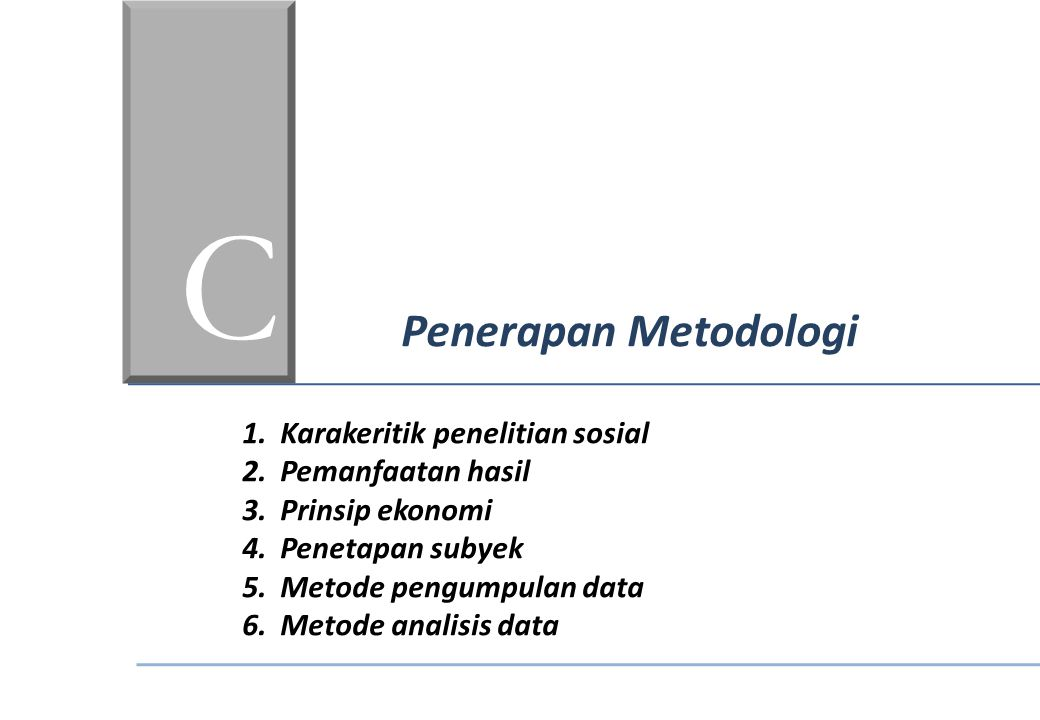 C Penerapan Metodologi Karakeritik penelitian sosial Pemanfaatan hasil