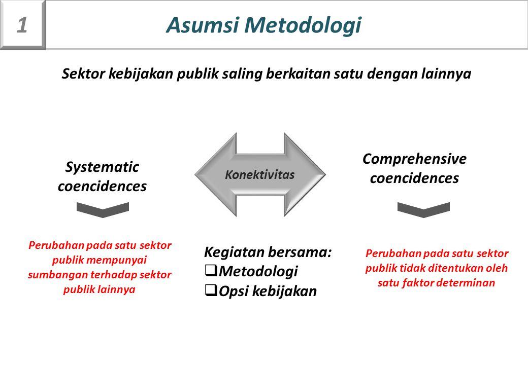 Asumsi Metodologi 1. Sektor kebijakan publik saling berkaitan satu dengan lainnya. Konektivitas. Comprehensive.