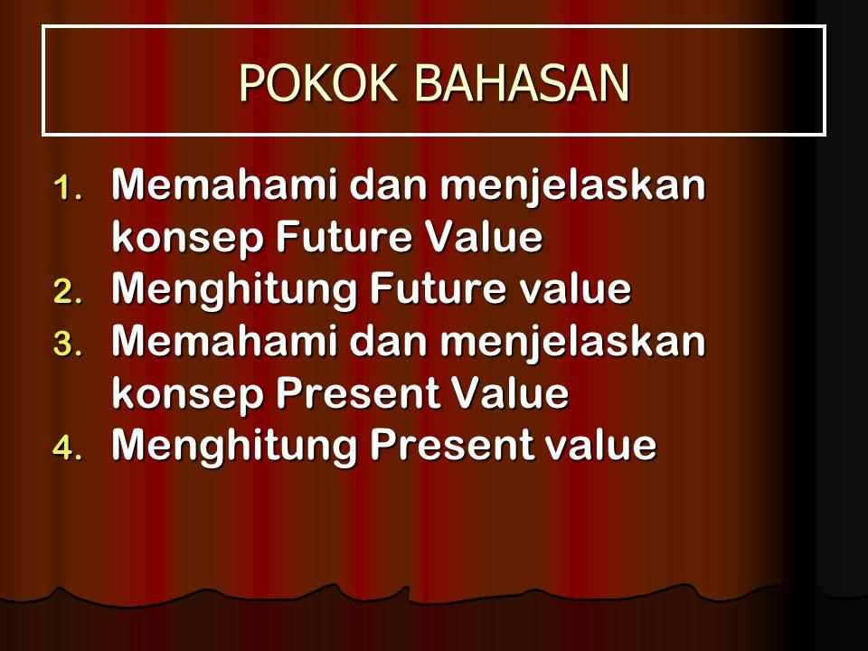 POKOK BAHASAN Memahami dan menjelaskan konsep Future Value