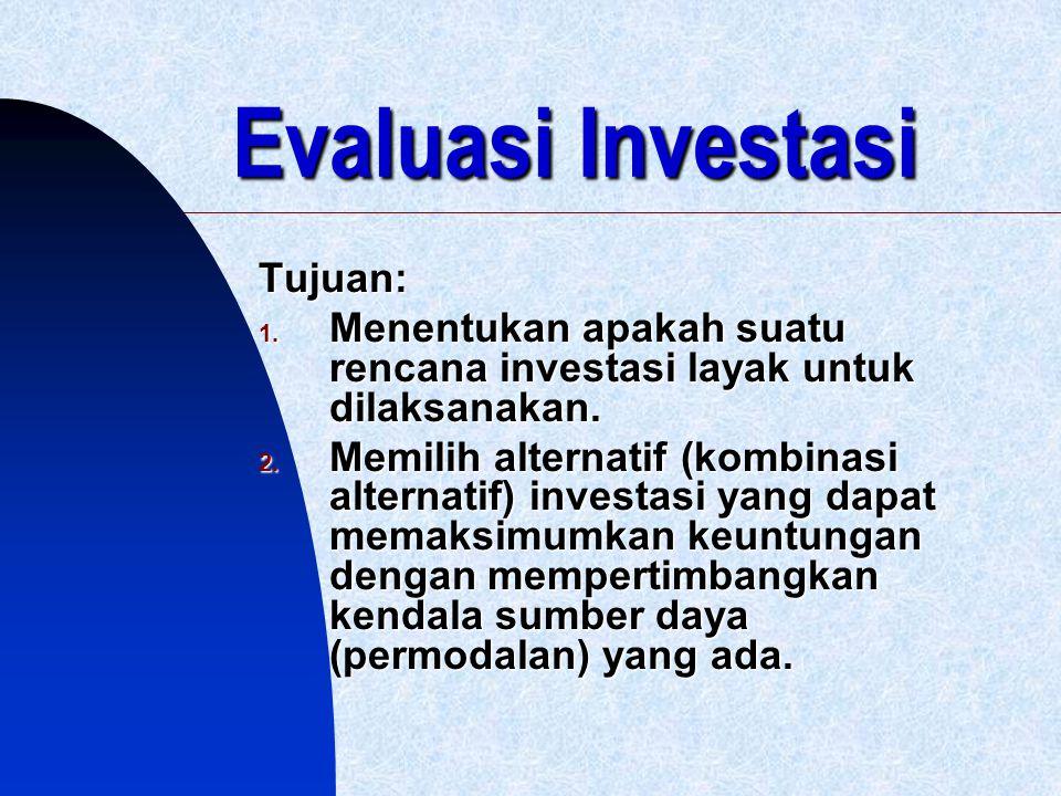 Evaluasi Investasi Tujuan: