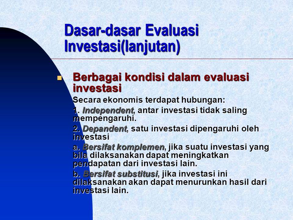 Dasar-dasar Evaluasi Investasi(lanjutan)