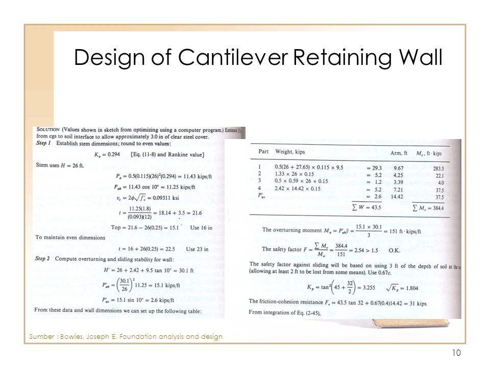 Design of Cantilever Retaining Wall