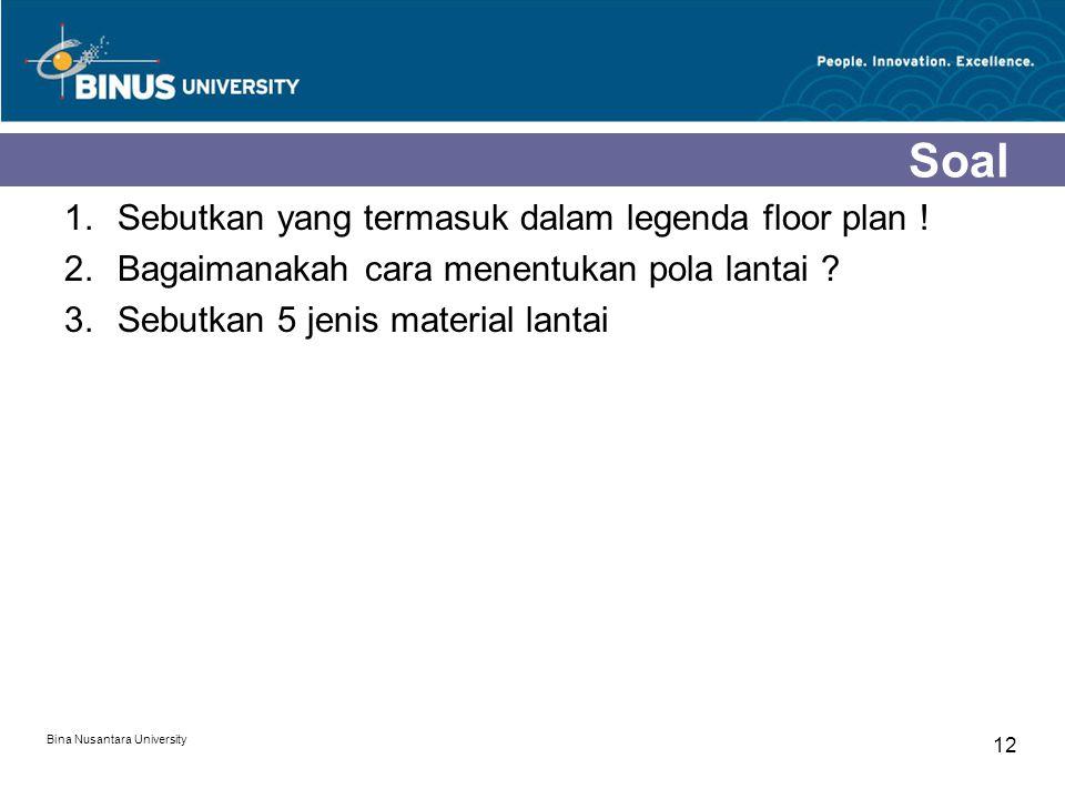 Soal Sebutkan yang termasuk dalam legenda floor plan !