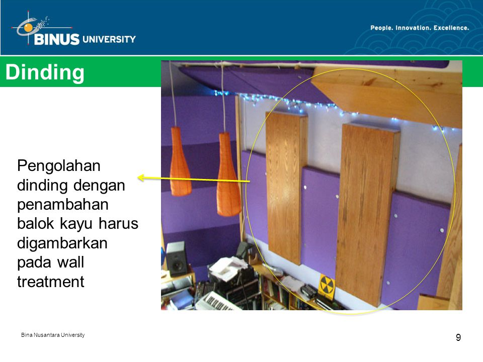 Dinding Pengolahan dinding dengan penambahan balok kayu harus digambarkan pada wall treatment.