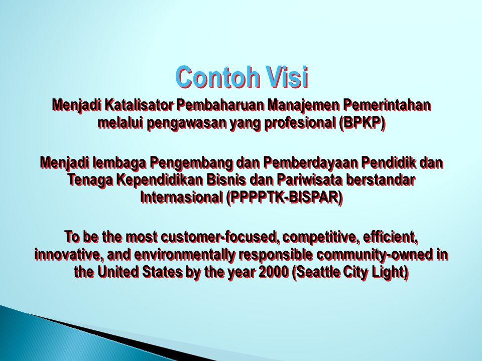 Contoh Visi Menjadi Katalisator Pembaharuan Manajemen Pemerintahan melalui pengawasan yang profesional (BPKP)