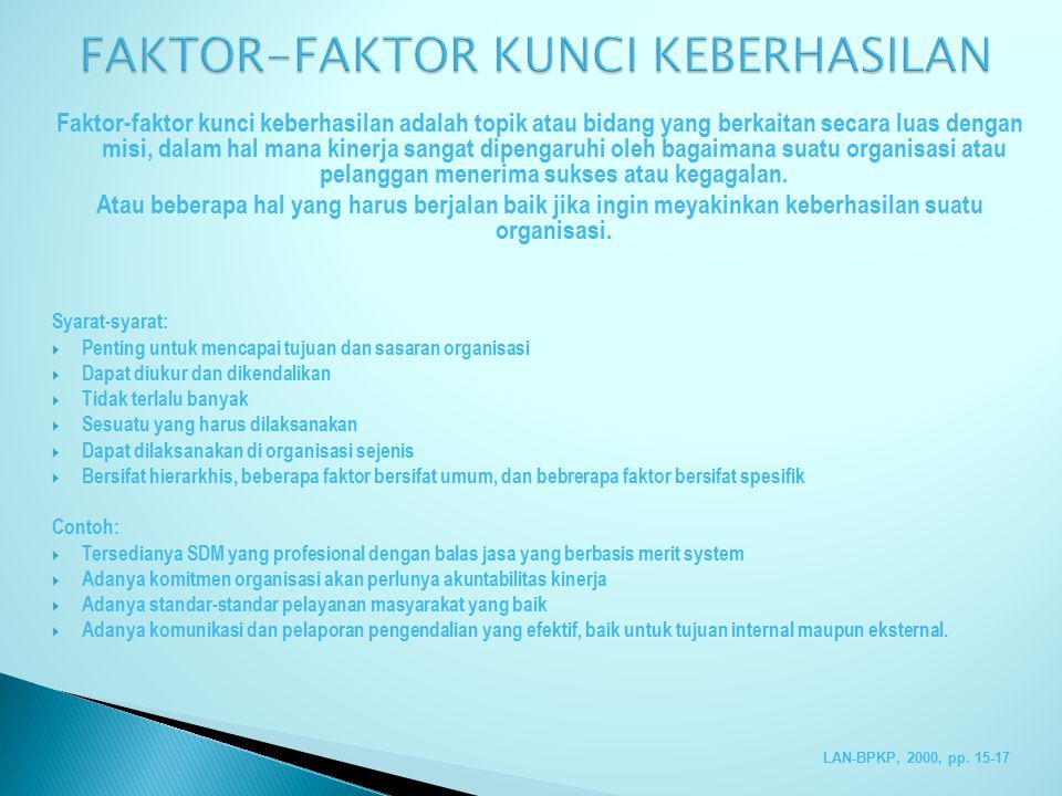 FAKTOR-FAKTOR KUNCI KEBERHASILAN