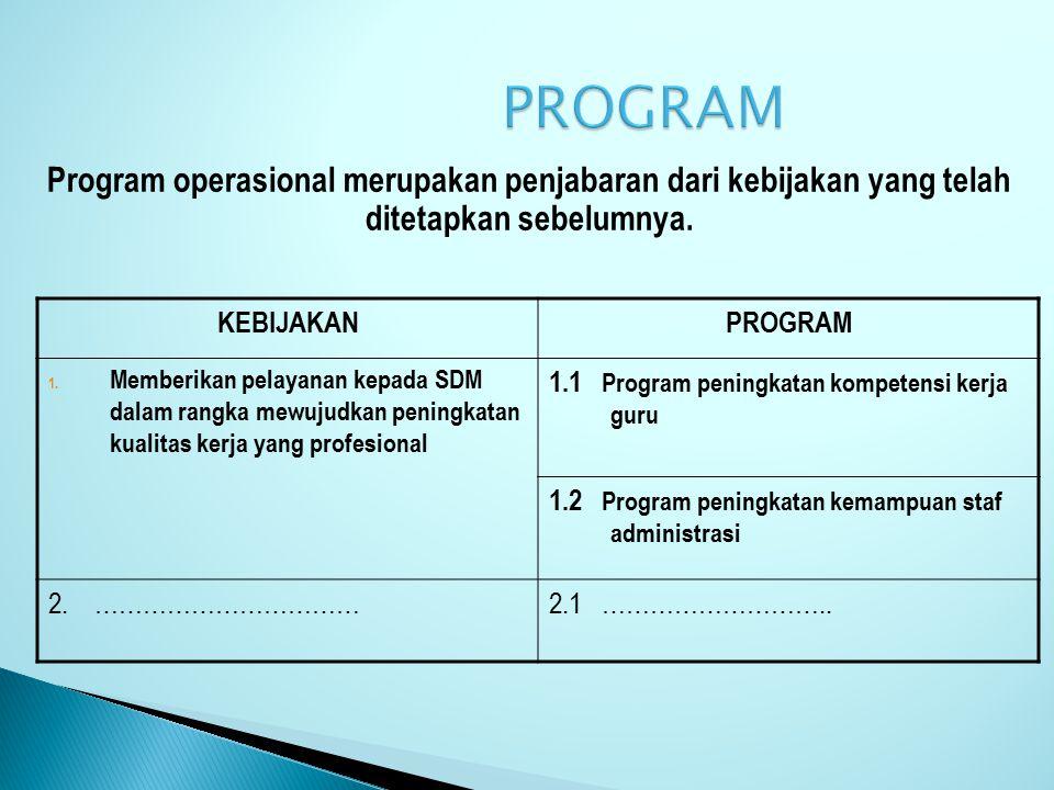 PROGRAM Program operasional merupakan penjabaran dari kebijakan yang telah ditetapkan sebelumnya. KEBIJAKAN.