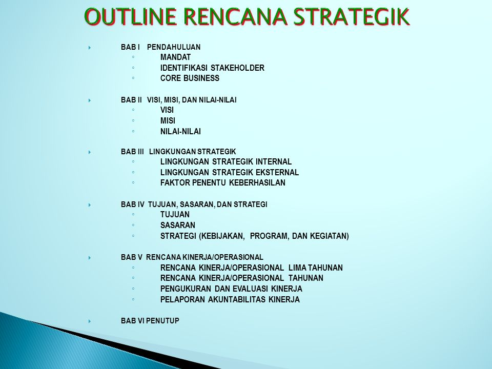 OUTLINE RENCANA STRATEGIK