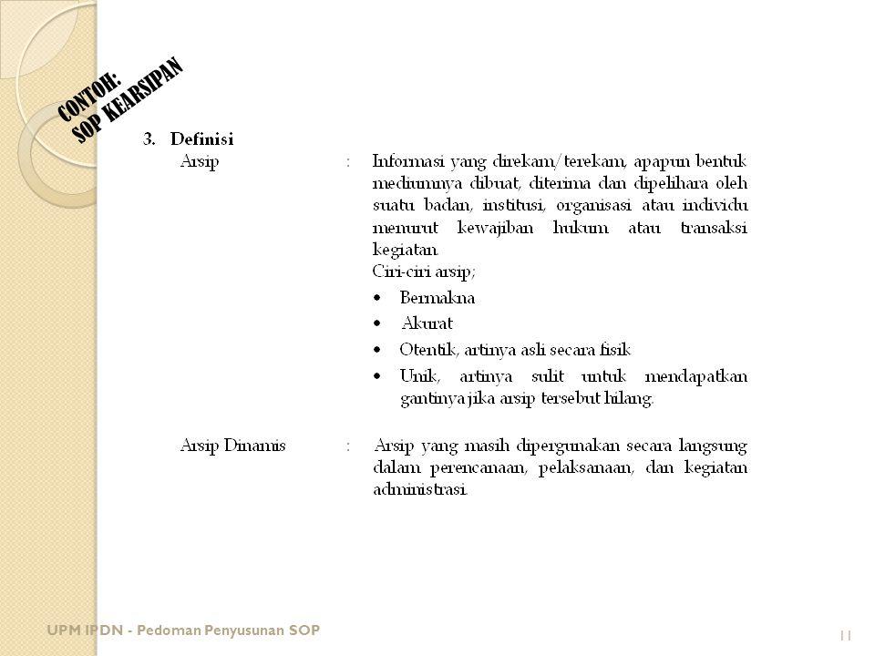 SOP KEARSIPAN CONTOH: UPM IPDN - Pedoman Penyusunan SOP