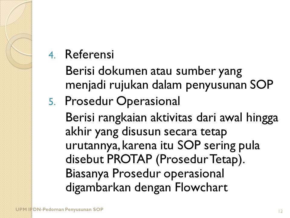 Berisi dokumen atau sumber yang menjadi rujukan dalam penyusunan SOP