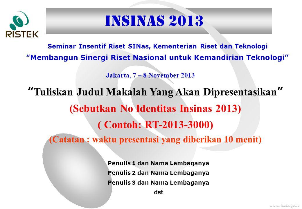 INSINAS 2013 Tuliskan Judul Makalah Yang Akan Dipresentasikan