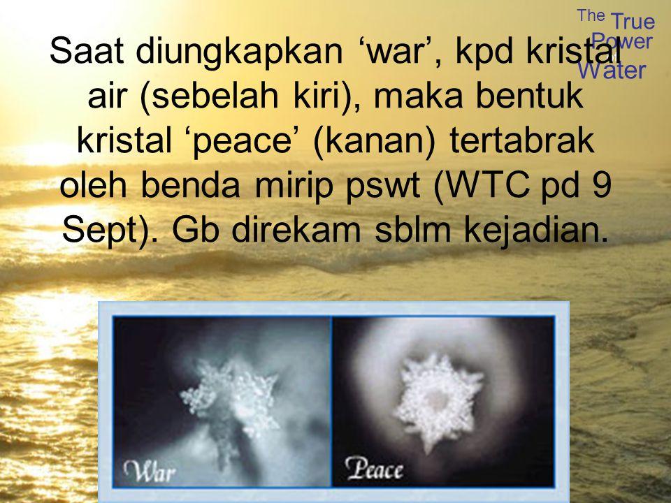 Saat diungkapkan 'war', kpd kristal air (sebelah kiri), maka bentuk kristal 'peace' (kanan) tertabrak oleh benda mirip pswt (WTC pd 9 Sept).