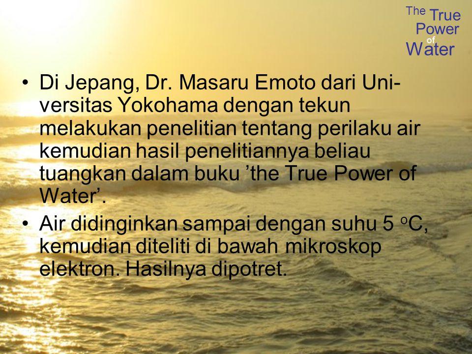 Di Jepang, Dr. Masaru Emoto dari Uni-versitas Yokohama dengan tekun melakukan penelitian tentang perilaku air kemudian hasil penelitiannya beliau tuangkan dalam buku 'the True Power of Water'.