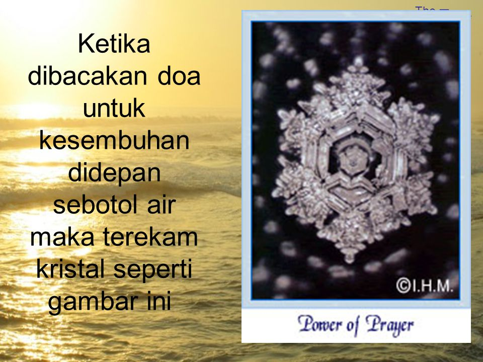 Ketika dibacakan doa untuk kesembuhan didepan sebotol air maka terekam kristal seperti gambar ini
