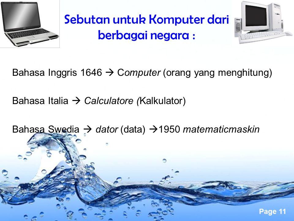 Sebutan untuk Komputer dari berbagai negara :