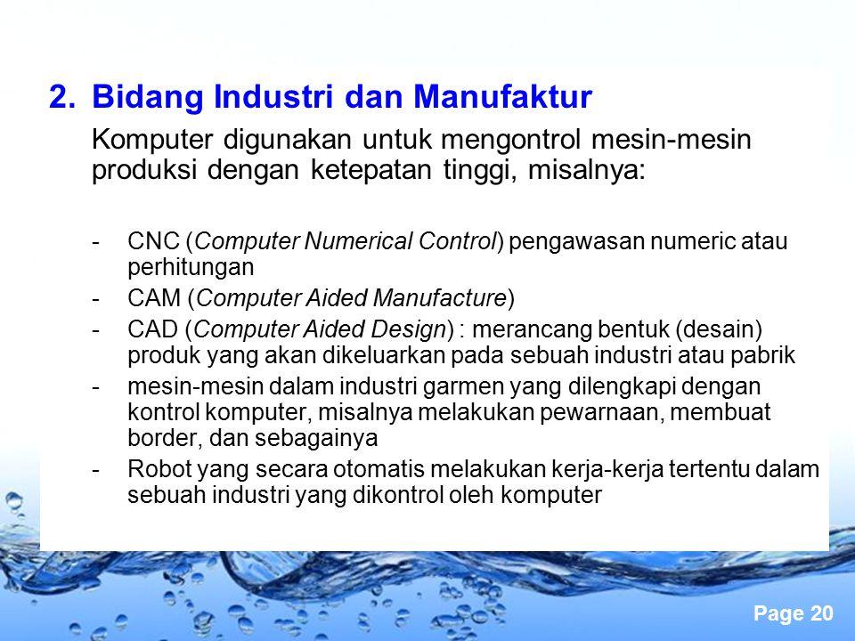 Bidang Industri dan Manufaktur