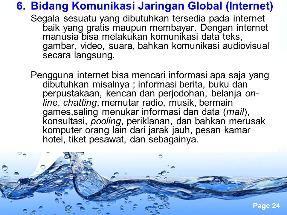 Bidang Komunikasi Jaringan Global (Internet)