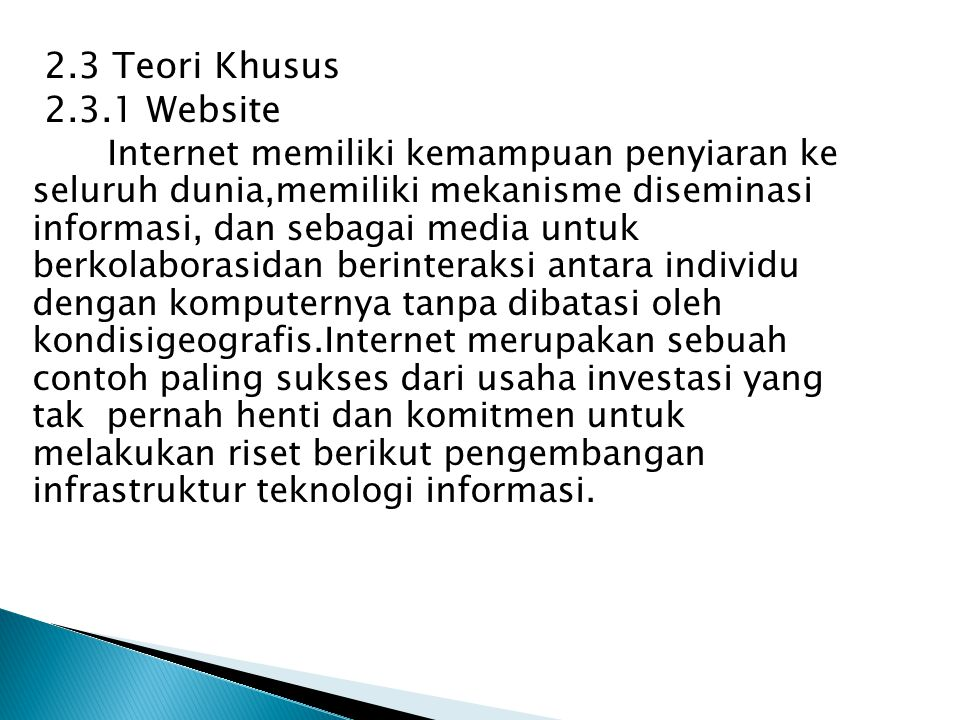 2.3 Teori Khusus 2.3.1 Website.