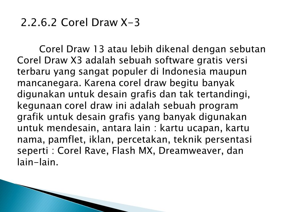 2.2.6.2 Corel Draw X-3