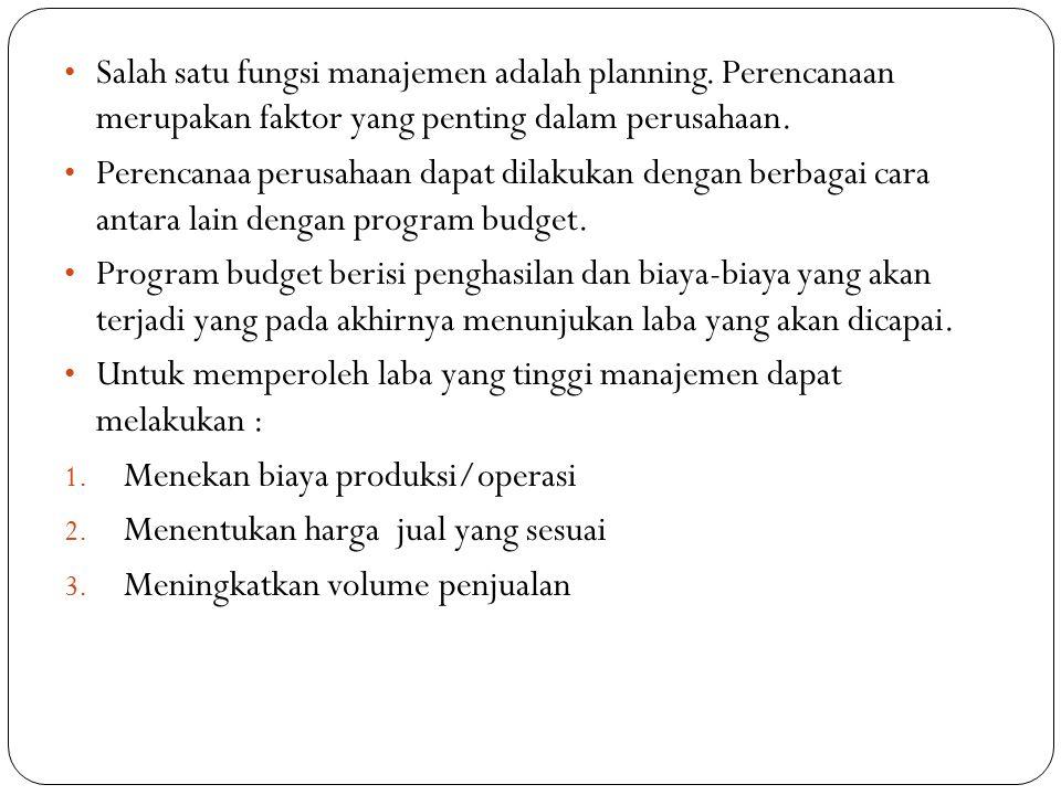 Salah satu fungsi manajemen adalah planning