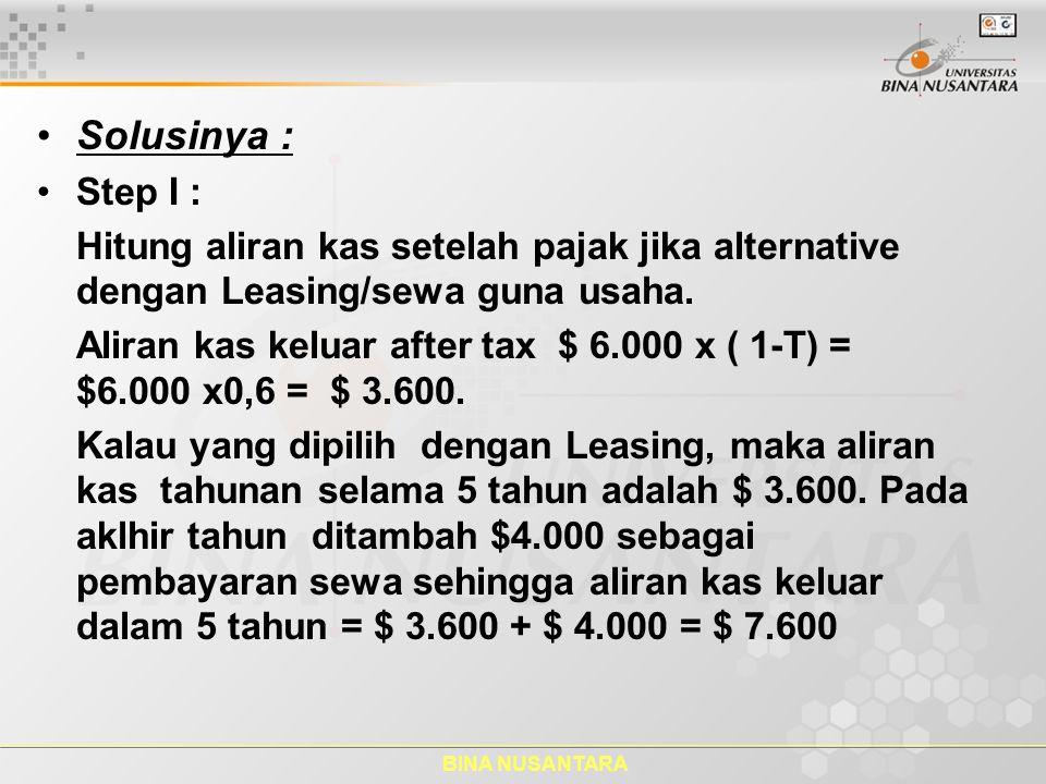 Solusinya : Step I : Hitung aliran kas setelah pajak jika alternative dengan Leasing/sewa guna usaha.