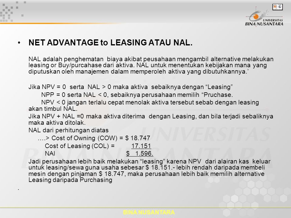 NET ADVANTAGE to LEASING ATAU NAL.