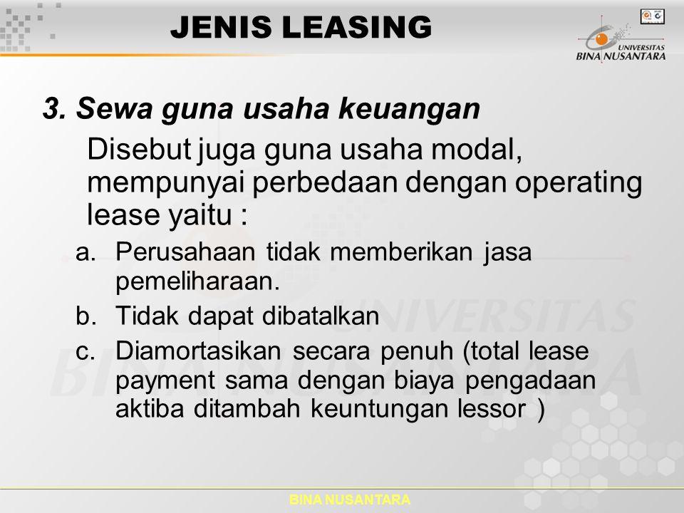 3. Sewa guna usaha keuangan