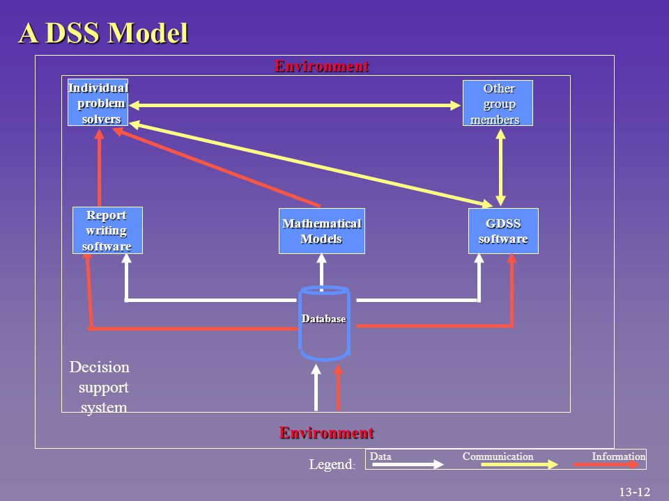A DSS Model support system problem solvers group members Report