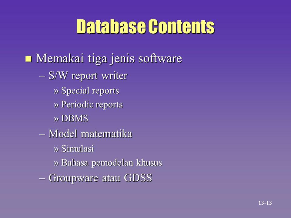 Database Contents Memakai tiga jenis software S/W report writer
