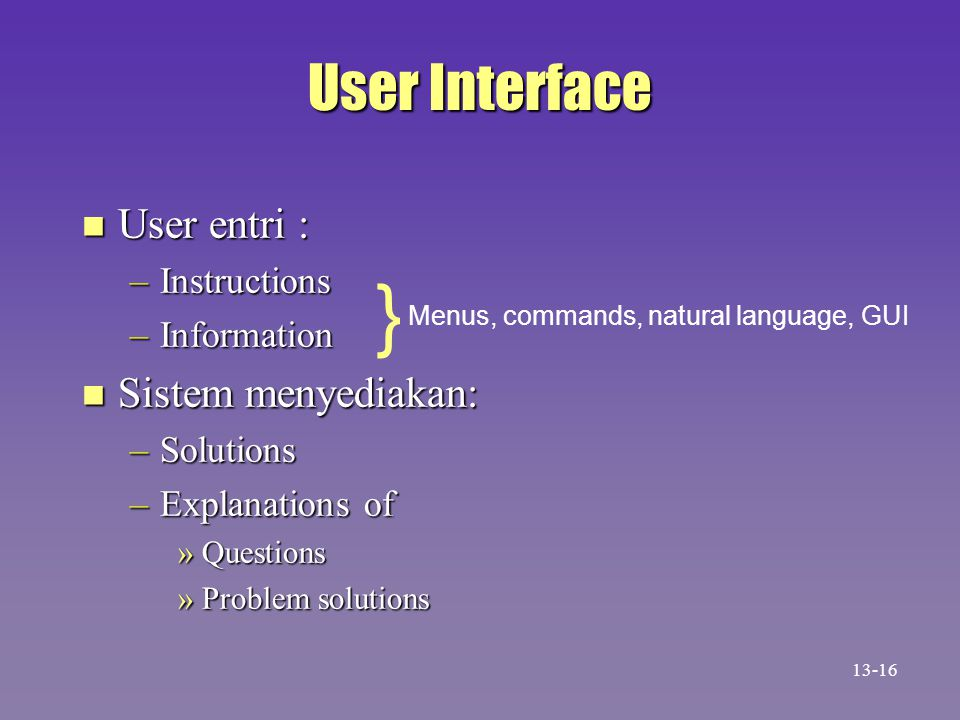 } User Interface User entri : Sistem menyediakan: Instructions