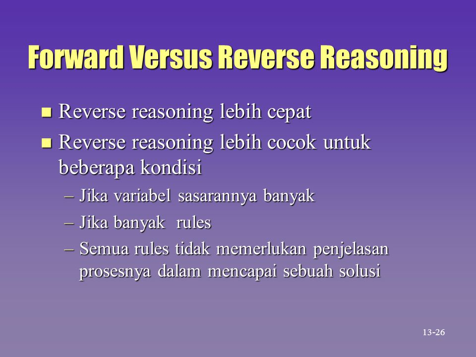 Forward Versus Reverse Reasoning