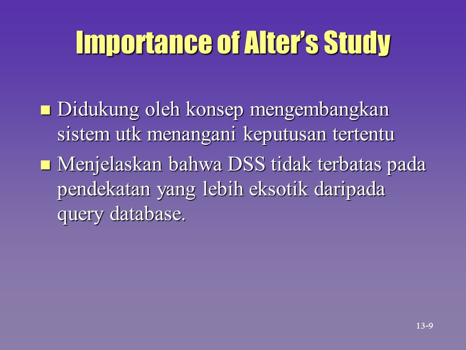 Importance of Alter's Study