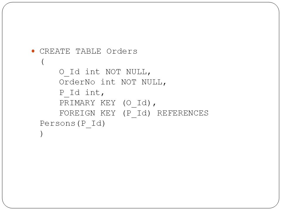 CREATE TABLE Orders (. O_Id int NOT NULL,. OrderNo int NOT NULL,