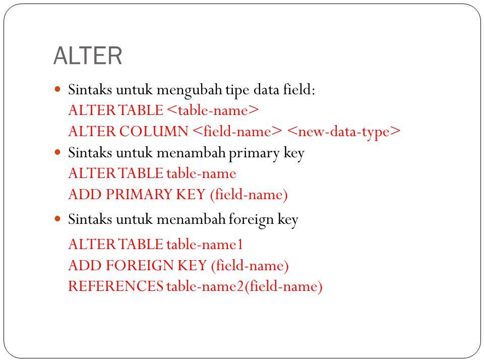 ALTER Sintaks untuk mengubah tipe data field: