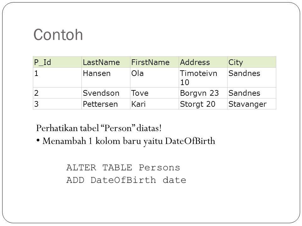 Contoh Perhatikan tabel Person diatas!
