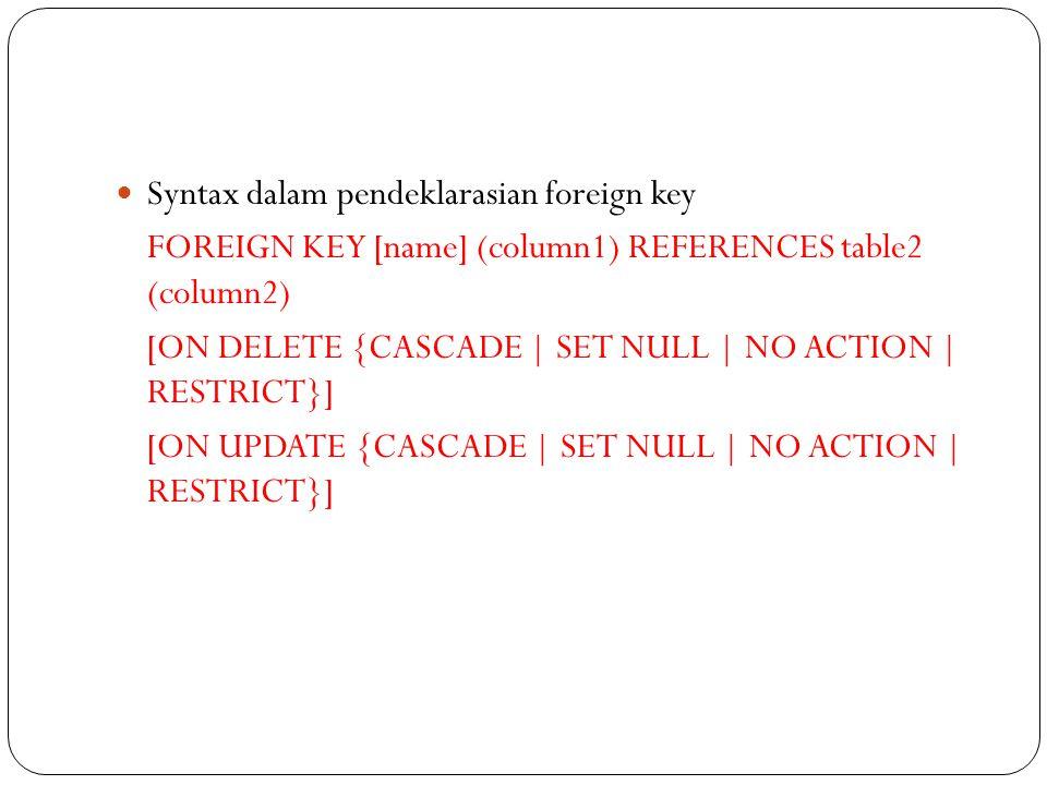 Syntax dalam pendeklarasian foreign key