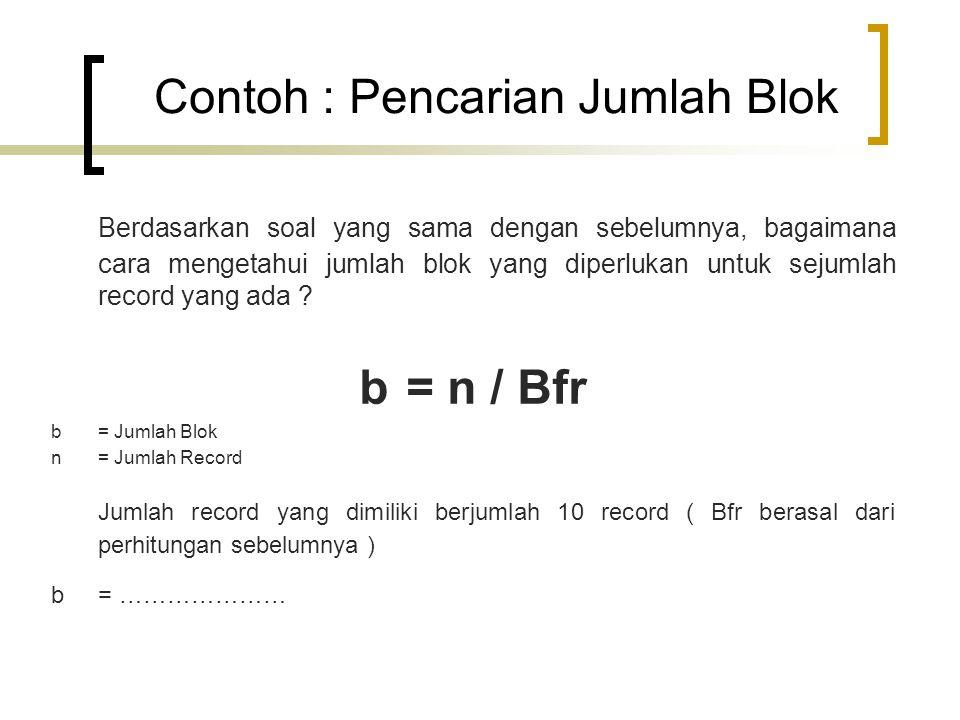 Contoh : Pencarian Jumlah Blok