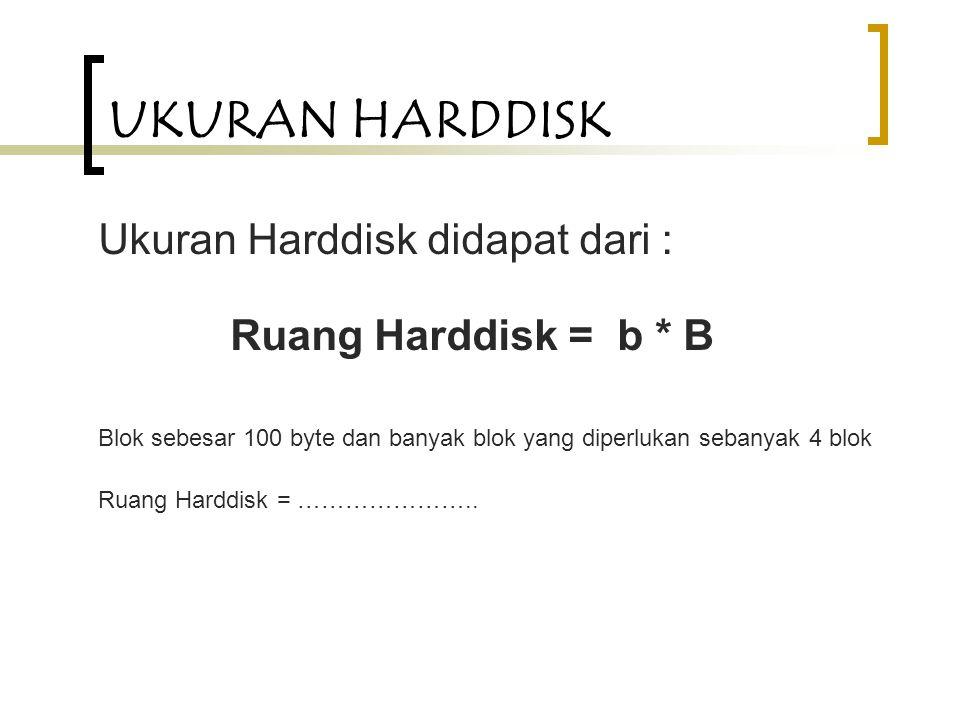 UKURAN HARDDISK Ukuran Harddisk didapat dari : Ruang Harddisk = b * B