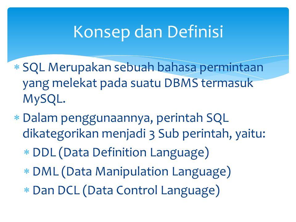 Konsep dan Definisi SQL Merupakan sebuah bahasa permintaan yang melekat pada suatu DBMS termasuk MySQL.