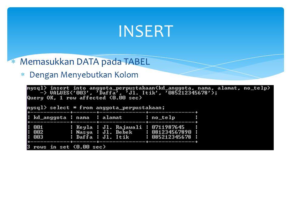 INSERT Memasukkan DATA pada TABEL Dengan Menyebutkan Kolom