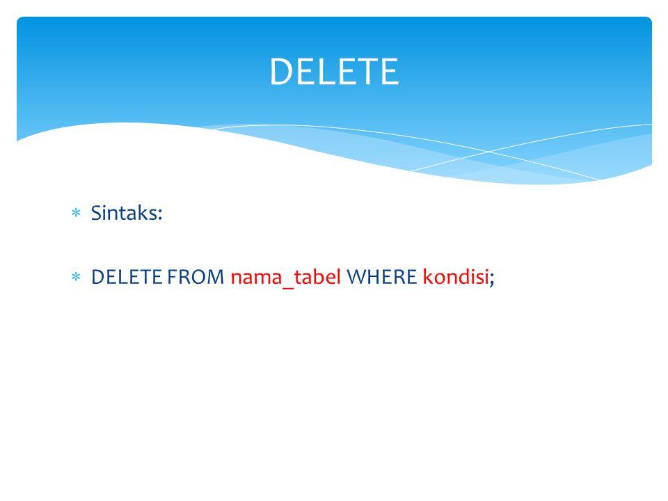 DELETE Sintaks: DELETE FROM nama_tabel WHERE kondisi;