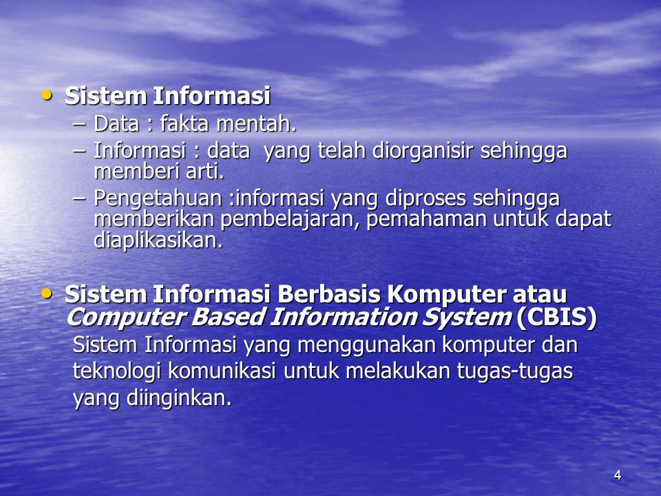 Sistem Informasi Data : fakta mentah. Informasi : data yang telah diorganisir sehingga memberi arti.