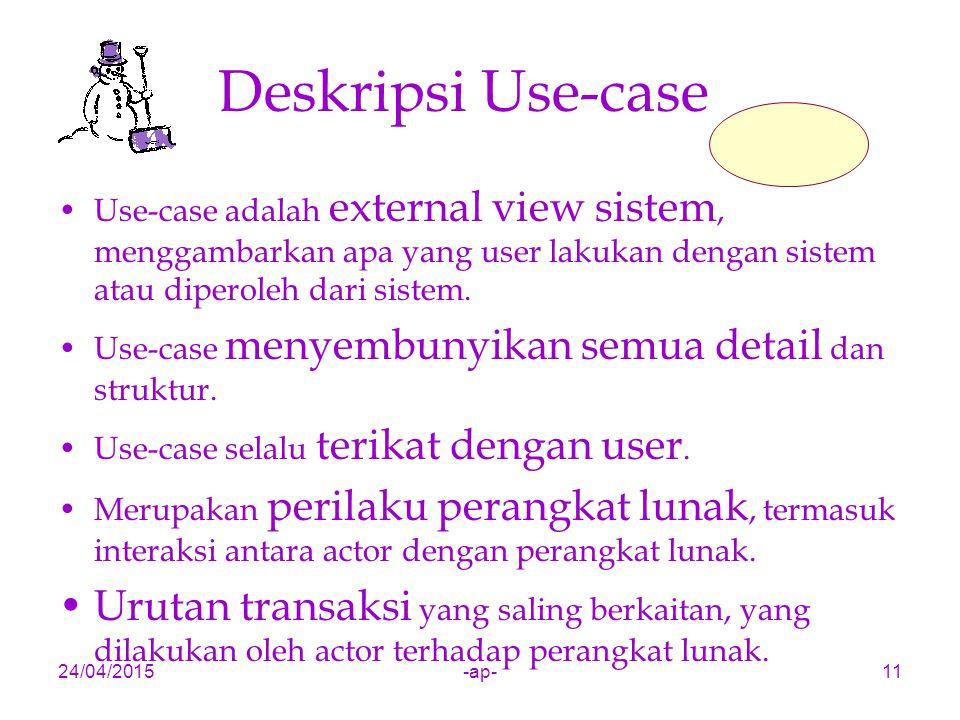 Deskripsi Use-case Use-case adalah external view sistem, menggambarkan apa yang user lakukan dengan sistem atau diperoleh dari sistem.