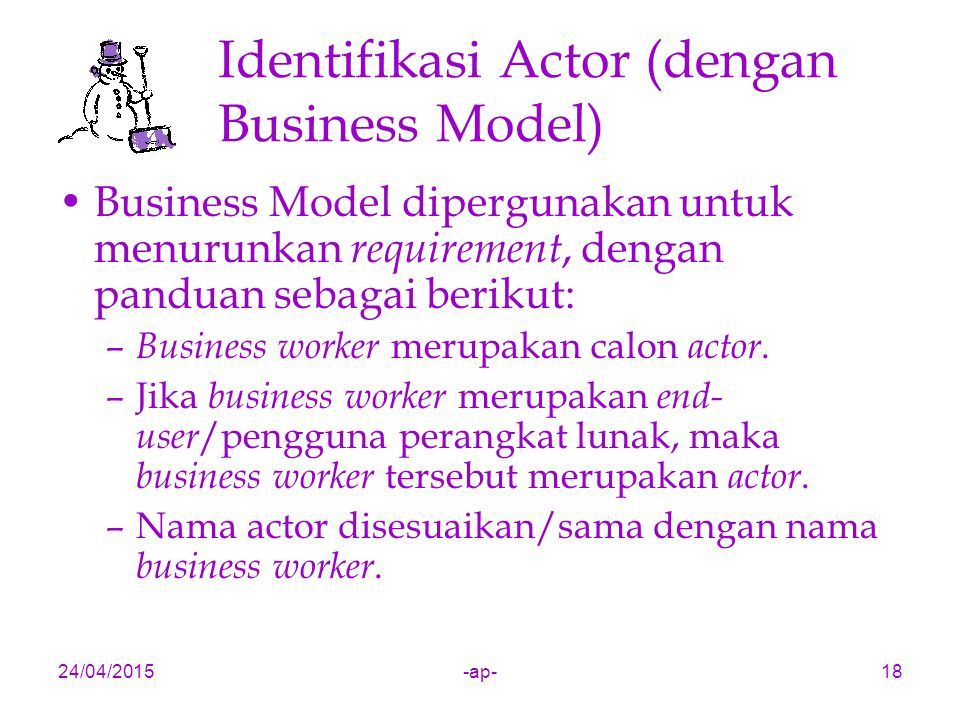 Identifikasi Actor (dengan Business Model)