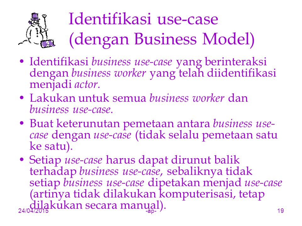 Identifikasi use-case (dengan Business Model)