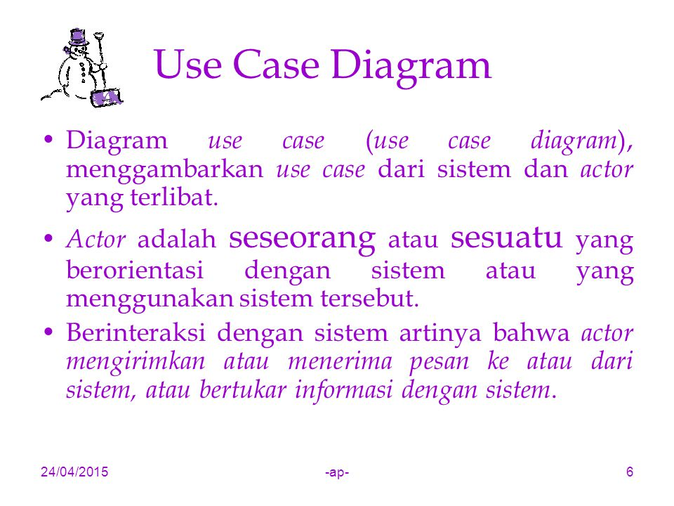 Use Case Diagram Diagram use case (use case diagram), menggambarkan use case dari sistem dan actor yang terlibat.