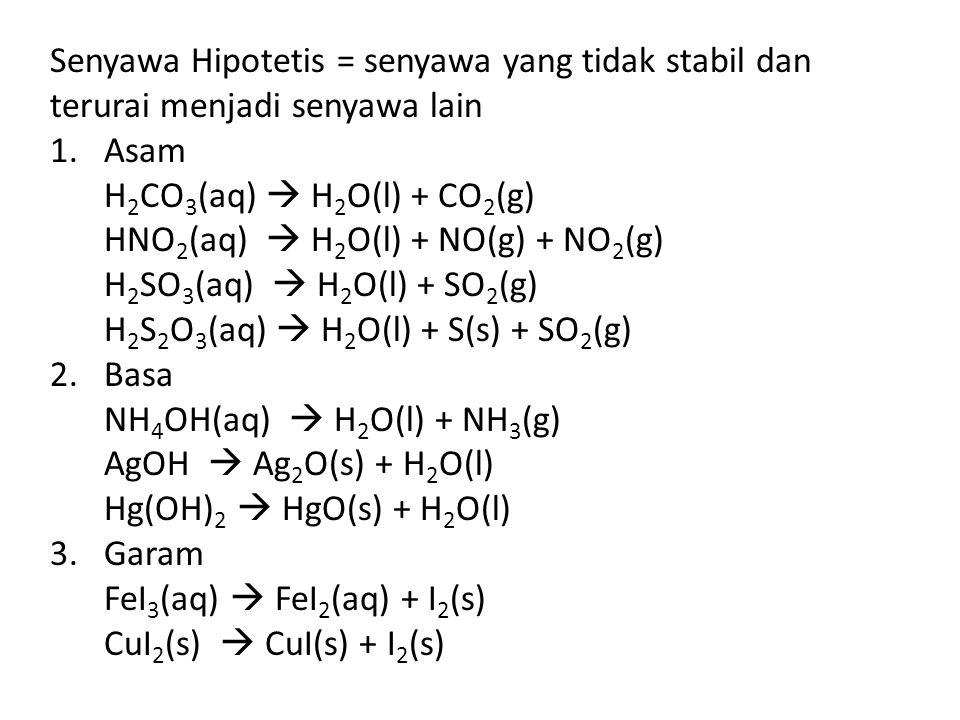 Senyawa Hipotetis = senyawa yang tidak stabil dan terurai menjadi senyawa lain