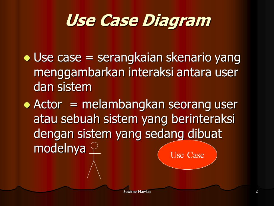 Use Case Diagram Use case = serangkaian skenario yang menggambarkan interaksi antara user dan sistem.