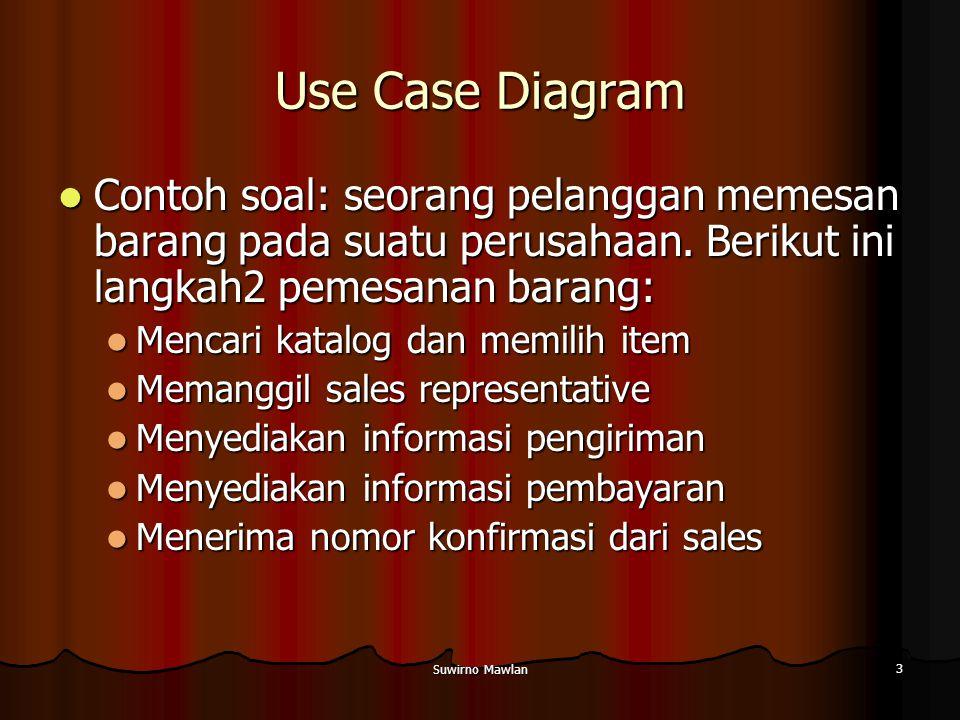 Use Case Diagram Contoh soal: seorang pelanggan memesan barang pada suatu perusahaan. Berikut ini langkah2 pemesanan barang: